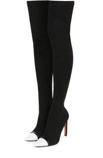 Текстильные ботфорты с контрастным кожаным мысом Givenchy