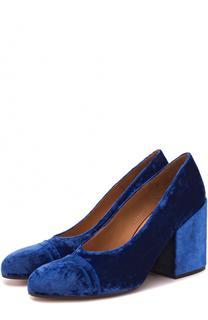 Бархатные туфли на массивном каблуке Dries Van Noten