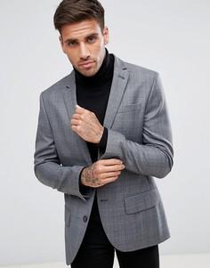 Полушерстяной клетчатый пиджак кроя слим River Island - Серый