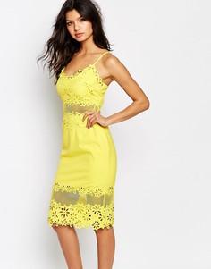 Платье-футляр с лазерной резной отделкой River Island - Желтый