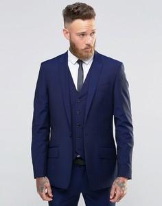 Синий приталенный пиджак с добавлением шерсти River Island - Темно-синий