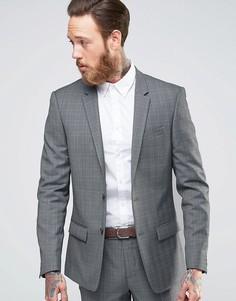 Серый приталенный пиджак в клетку River Island - Синий