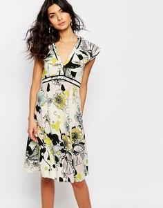 Чайное платье с цветочным принтом River Island - Желтый