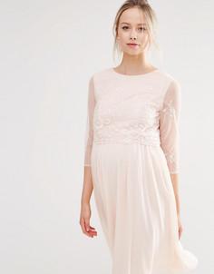 Платье для выпускного с пайетками на лифе Little Mistress Maternity - Розовый