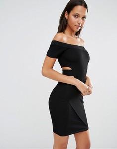 Вязаное платье с открытыми плечами River Island - Черный