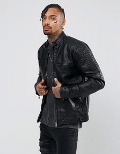 Черная байкерская куртка из искусственной кожи River Island - Черный