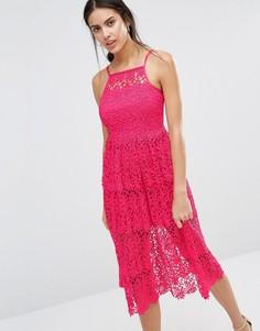 Кружевное премиум‑платье для выпускного River Island - Розовый