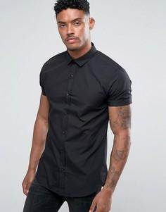 Черная узкая поплиновая рубашка с короткими рукавами River Island - Черный