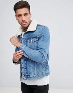 Голубая джинсовая куртка с воротником борг River Island - Синий