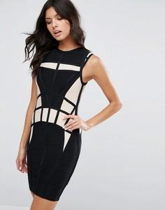 Бандажное облегающее платье со вставками River Island - Кремовый