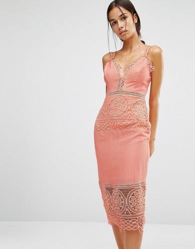 Облегающее платье с кружевной отделкой River Island - Розовый