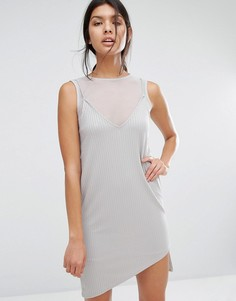 Платье 2 в 1 на бретельках с сеточкой River Island - Серый