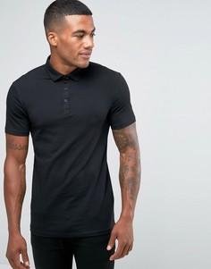 Черная футболка‑поло облегающего кроя River Island - Черный