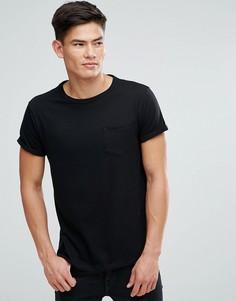 Черная футболка с отворотами на рукавах и карманом River Island - Черный