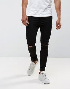 Черные супероблегающие джинсы с рваными коленями River Island - Черный