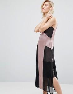 Платье-комбинация с кружевной вставкой River Island Studio - Розовый