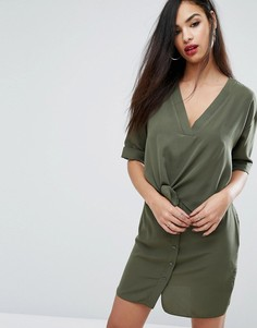 Цельнокройное платье с завязкой спереди River Island - Зеленый