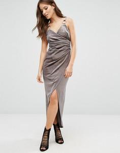 Бархатное платье с запахом River Island - Серый