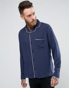 Рубашка с отложным воротником и окантовкой Brooklyn Supply Co - Темно-синий