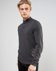 Серая футболка-поло с длинными рукавами River Island - Серый