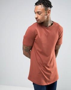 Удлиненная футболка цвета ржавчины с асимметричным краем River Island - Красный