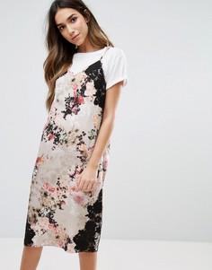 Платье-комбинация с цветочным принтом и кружевной отделкой River Island - Мульти