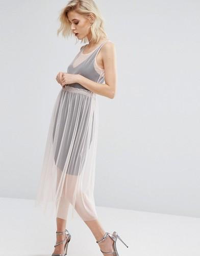 Сетчатое платье миди 2 в 1 River Island - Розовый