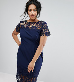 Платье-футляр со вставками из кроше Paper Dolls Plus - Темно-синий