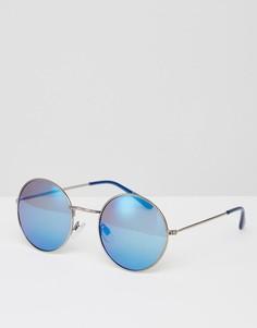 Круглые серебристые солнцезащитные очки с синими стеклами River Island - Серебряный