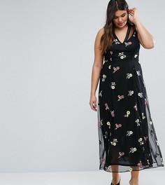 Платье макси с вышитыми цветами River Island Plus - Черный