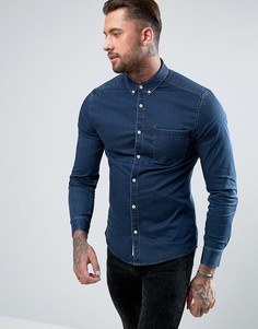 Темно-синяя джинсовая рубашка River Island - Темно-синий
