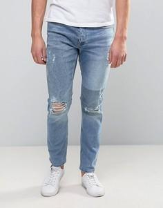 Светлые рваные джинсы скинни River Island - Синий