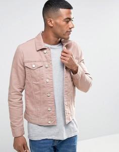 Розовая выбеленная джинсовая куртка River Island - Розовый