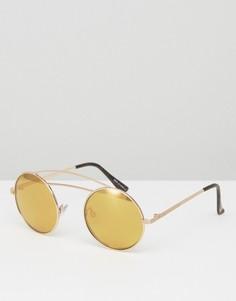 Золотистые круглые солнцезащитные очки с двойной планкой сверху River Island - Золотой