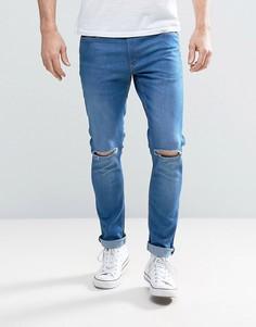 Светлые джинсы с рваными коленями River Island - Синий