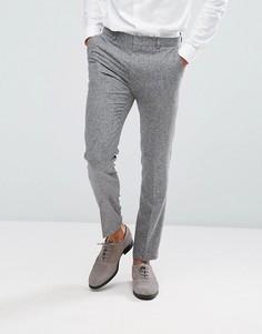 Серые фактурные брюки скинни из 100% шелка ASOS - Серый