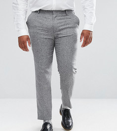 Серые фактурные брюки скинни из 100% шелка ASOS PLUS - Серый