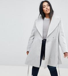 Пальто с поясом и широким воротником ASOS CURVE - Серый