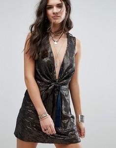 Блестящее платье для вечеринок Free People Paris Rock - Темно-синий
