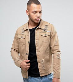 Светло-коричневая джинсовая куртка с рваной отделкой Liquor N Poker - Бежевый