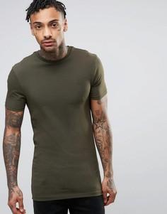 Длинная обтягивающая футболка хаки River Island - Зеленый