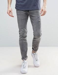 Серые джинсы скинни с потертостями River Island - Серый