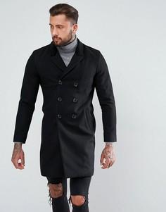 Черное пальто с добавлением шерсти с бархатным воротником ASOS - Черный