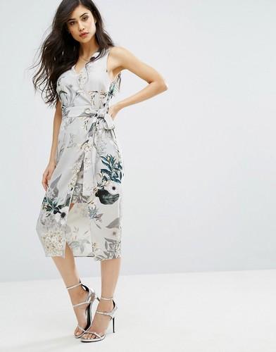 Платье миди без рукавов с цветочным принтом River Island - Мульти
