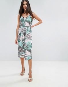 Платье-комбинация с тропическим принтом River Island - Мульти