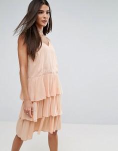 Платье с рюшами River Island - Розовый
