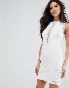 Платье без рукавов с цветочным принтом и кружевной отделкой River Island - Белый