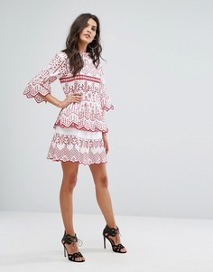 Мини-юбка с вышивкой ришелье River Island - Мульти