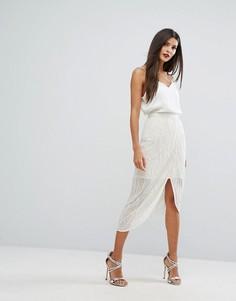 Декорированная мини-юбка с запахом River Island - Белый