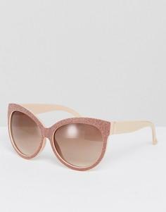 Блестящие солнцезащитные оверсайз-очки цвета розового золота River Island - Бежевый